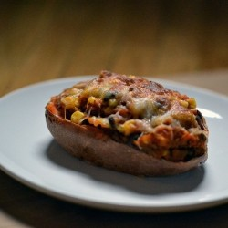 Twice Baked Sweet Potatoes with Black Beans Corn and Chipotle Peppers