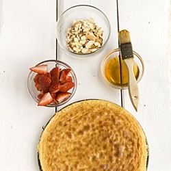 Almond Cake with Strawberry Rhubarb Compote