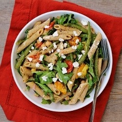 Arugula Pasta Salad with Chickpeas Roasted Veggies Olives Goat Cheese
