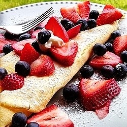 Browned Butter Crepes with Blueberries Strawberries Recipe