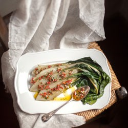 Chard With Capers Anchovy and Sun-dried Tomatoes