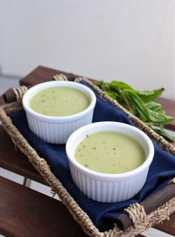 Cold Pean and Mint Soup