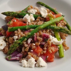 Farro Salad with Asparagus Tomatoes and Feta Cheese