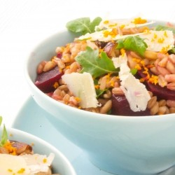 Farro with Beets Hazelnuts Arugula