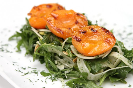 Fennel and Arugula Salad with Grilled Apricots Recipe