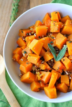 Glazed Butternut Squash with Sage and Pecans