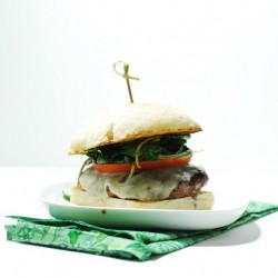 Grilled Burger with Arugula Slaw Tomato and Mozzarella Cheese Recipe