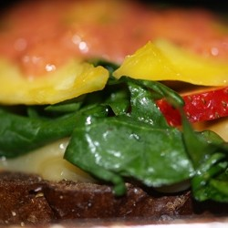 Grilled Cheese with Strawberry Mango Spinach and Gouda