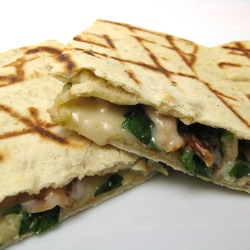 Grilled Chicken and Spinach Flatbread Sandwiches on Homemade Pizza Dough