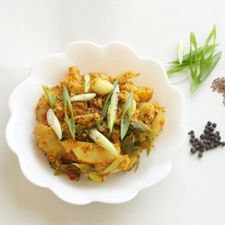 Gujarati Potatoes and Scallions with Chickpea Flour