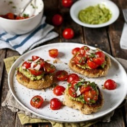 Lemon Scallion White Bean Patties with Asparagus Pesto and Simple Salsa