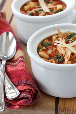 Mediterranean Chicken Bean Pasta Soup