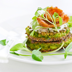 Pea Cakes with Country Sausage