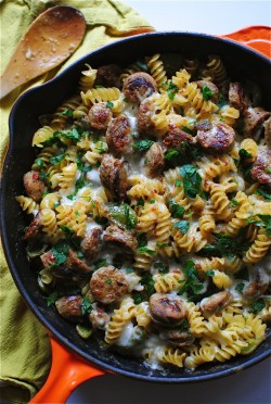 Skillet Pasta with Chicken Sausages and a Creamy Roasted Pepper Sauce Recipe