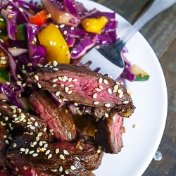 Spicy Skirt Steak with Asian Slaw