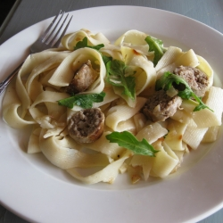 Tagliatelle with Sausage and Arugula