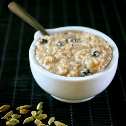 Toasted Coconut Cardamom Rice Pudding with Blueberries