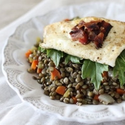 Umbrian Lentils with Olive Oil Fried Eggs