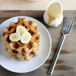 Vegan Peanut Butter Banana Whole Wheat Waffles Recipe