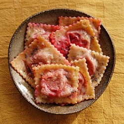 Beet Chevre Ravioli with Poppy Seed Butter