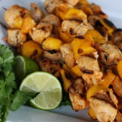 Chili Lime Mango Chicken Skewers
