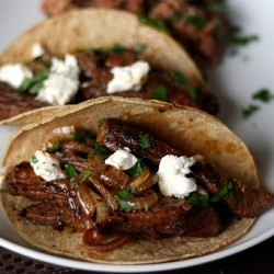 Chipotle Beef Caramelized Onion Tacos
