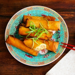 Fried Chinese Spring Rolls with Pork and Shrimp Recipe