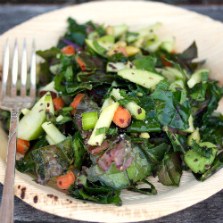 Kale Salad with Avocado Apple and Pine Nuts