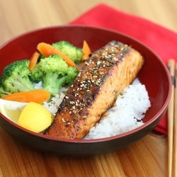 Miso Maple Glazed Salmon Rice Bowl Recipe