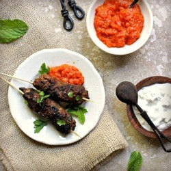 Moroccan Spiced Lamb Keftas with Roasted Red Pepper Sauce and Tzatziki