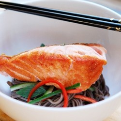 Pan Fried Salmon with Soba Noodles