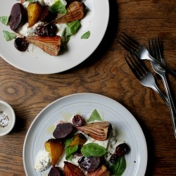 Roasted Beets and Cherries with Burrata