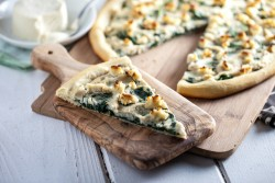Roasted Garlic White Pizza with Macadamia Ricotta Salata Spinach