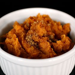 Roasted Smashed Yams with Apple Cider and Brown Sugar