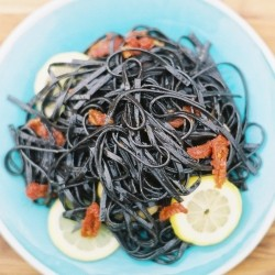 Squid Ink Pasta with Lemon and Garlic Recipe