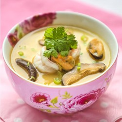 Steamed Eggs with Seafood