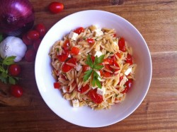 Tomato Pepper and Onion Orzo Salad Recipe