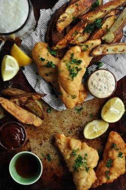 Beer Battered Fish and Oven Roasted Rosemary Potatoes Recipe