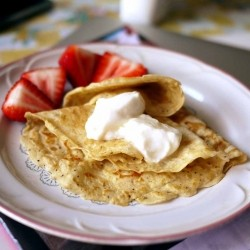 Black Pepper Crepes with Strawberries and Yogurt Recipe
