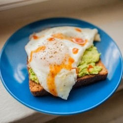 Eggs Over East on Toast with Avocado