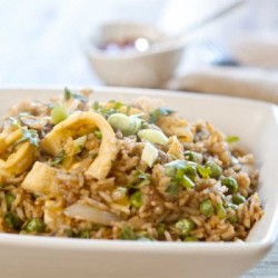 Nasi Goreng with Shrimp Mushrooms and Peas