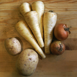 Parsnips and Vegetables for Curried Parsnip Soup