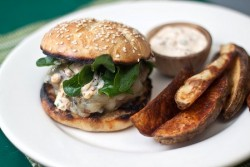 Poblano Burgers with Chipotle Cream
