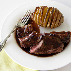 Pan-Seared New York Strip Steaks with Red Wine Pan Sauce