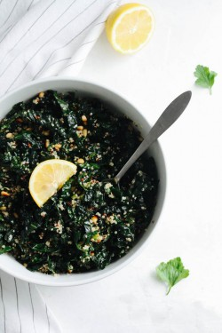 Kale and Quinoa Salad with Lemon Miso Dressing