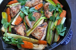 Skillet Chicken Roast with Carrots and Leeks