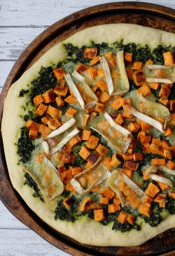 Sweet Potato Kale Pesto and Brie Pizza Recipe