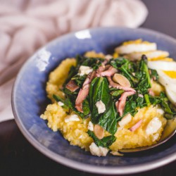 Polenta with Greens and Shiitakes