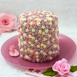 Pink and lilac flowers cake