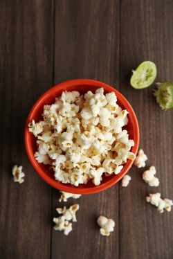 Popcorn with Garlic Lime Butter